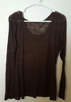 Women's Maurices Brown Long Sleeve Burnout Tee Size XL #447 in Clothing, Shoes & Accessories, Women's Clothing, Tops & Blouses | eBay