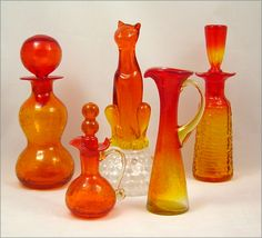 Blenko, Viking, Pilgrim, Kanawha Tangerine Art Glass  Group of mid-century vintage blown tangerine, amberina glass.