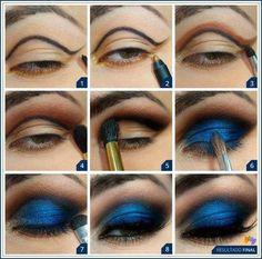 Maquillaje de ojo, paso a paso para sombra azul