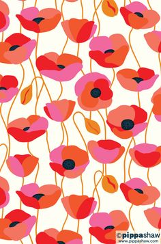 colourful poppies repeat pattern by Pippa Shaw poppies pattern repeat artlicensing red pink coquelicot textiledesign packagingdesign 532480355936728969 Flower Pattern Design, Design Floral, Surface Pattern Design, Pattern Art, Flower Patterns, Red Pattern, Watercolor Clipart, Watercolor Flower, Illustration Inspiration