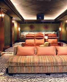Italian Style in Newport Coast, California traditional Home Theater Rooms, Home Theater Design, Woman Cave, Bonus Rooms, Interior Decorating, Interior Design, Chair Fabric, My Dream Home, New Homes