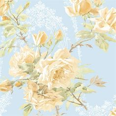 [For my homestead with the barn wood shelves and the kitchen island made from an old dresser]… Sky blue! Would be good for a darker interior with small windows. --Floral Wallpaper. $30.00 for double roll, cheap.