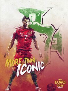 In its coverage of world-class soccer tournaments, one of the traditions that ESPN began at World Cup 2010 was the creation of a set of posters —one for each team —to promote the event.  For the last European Championship, the set of Euro 2012 posters featured a combination of iconographic