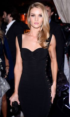 Black Dress is Trendingat#Cannes 2014  Rosie Huntington-Whiteleyin Roberto Cavalli curve-hugging LBD atRoberto CavalliYachtParty during#Cannes Film Festival2014