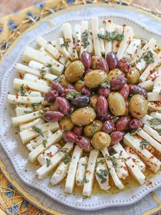 Easy Marinated Olives & Cheese Ring Appetizer