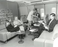 "One of the COACH lounges on ""Braniff Place.""  This kind of room would be unheard of today!"