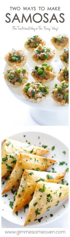 """Learn 2 ways to make baked samosas -- the traditional (triangle) way, or the """"easy"""" (phyllo cups) way 