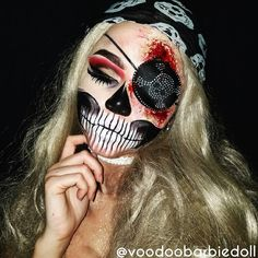 Skeleton Pirate Face Paint Halloween Costumes Makeup