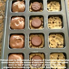 Smash squares of break-apart refrigerated cookie dough into the bottom of each well, place Reese's cup upside down on top of cookie dough, and top with prepared box brownie mix. This would be perfect in the new Pampered Chef brownie pan! Brownie Cookies, Brownie Pan, Brownie Batter, Chip Cookies, Pan Cookies, Delicious Cookies, Brownie Icing, Skillet Brownie, Quick Cookies