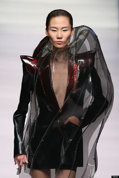 Sculptural Fashion with mixed materials & 3D contoured structure; experimental fashion design // China Fashion Week AW13/14