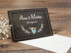 """Hochzeitseinladung """"love birds"""" inkl Kuvert von *Formatreich-Hochzeitskarten* auf DaWanda.com"""