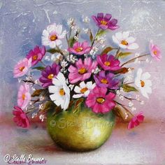 Art by Stella Bruwer Beautiful Flowers Pictures, Flower Pictures, Mini Paintings, Watercolor Paintings, Stella Art, Lilac Painting, Sunflowers And Daisies, Rooster Painting, Creation Photo