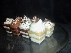 Assorted Chocolate and Vanilla Cake Cups. Layers of cake & buttercream