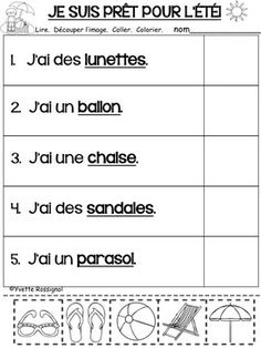 French Language Lessons, Spanish Language Learning, French Lessons, Spanish Lessons, Learning French For Kids, Teaching French, French Sentences, French Worksheets, French Kids