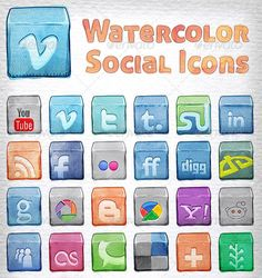 SOCIAL MEDIA -         Lovely social media icons! Watercolor SM Icons.