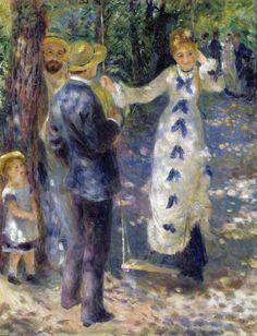 """""""O Balanço"""", de Pierre-Auguste Renoir, 1876.  O pintor impressionista Renoir era conhecido por amar retratar seus amigos parisienses e a sociedade francesa. Nessa belíssima obra ao ar livre, Renoir capta um flerte acanhado entre dois jovens."""