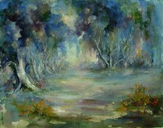 """Two paintings in one, watercolor on paper of tree lined lane and on verso another mysterious forest scene. Signed """"A. Brewer"""" lower left. Unframed. Age toning, small repair along center left margin. 1"""