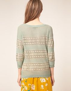 Warehouse Lace Sweater in Mint