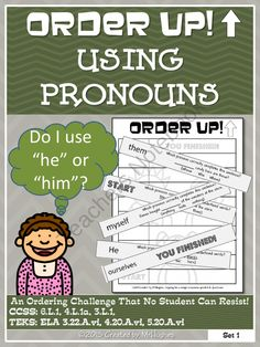 Order Up! Using Pronouns Set 1 from MrHughes on TeachersNotebook.com (7 pages)  - ORDER UP!  Language Arts Editions are now available! WAHOO!  Check out the FREE PREVIEW to see what is included and for more information on how it works!  This set of ORDER UP! focuses on USING PRONOUNS and meets the following CCSS and TEKS requirements: