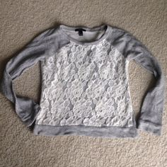 lace insert sweatshirt cute and cozy! can be worn with leggings on a lazy day Forever 21 Tops Sweatshirts & Hoodies