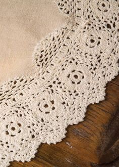 """$10.99 Doily measures 16"""" round Natural Hand-crocheted 100% cotton. Machine wash cold, gentle. Do not bleach. Lay flat or hang to dry. Touch up with cool iron if desired. CABINET"""