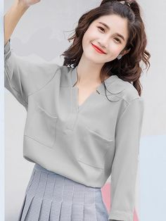 Korea Fashion, Asian Fashion, Ulzzang Fashion, Cut Shirts, Western Outfits, Trendy Tops, Office Fashion, Baby Girl Dresses, Womens Fashion For Work