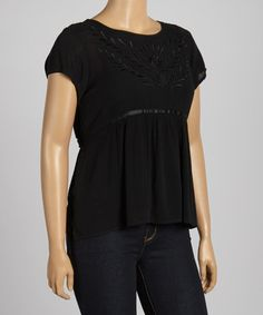Loving this Black Embroidered Cutout Babydoll Top - Plus on #zulily! #zulilyfinds