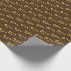 Brown Faux Gold 97th Ninety Seventh Event Wrapping Paper