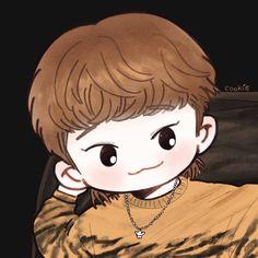 Chen <credits to owner> Exo Cartoon, Chibi, Death Note Fanart, Exo Anime, Exo Fan Art, Xiuchen, Artist Logo, Exo Xiumin, Bts Drawings
