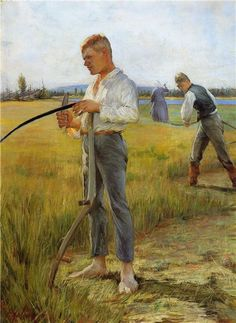 Pekka Halonen - Mowers men, 1891 Pekka Halonen 1865 – 1933 was a painter of Finnish landscapes and people in the national romantic style. Artist Painting, Painting & Drawing, Maurice De Vlaminck, Oil Canvas, Scandinavian Art, Collaborative Art, Male Figure, Nature Paintings, Gay Art