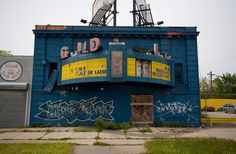 """Down the road away, but always a landmark.  Abandoned Guild Adult Theater, 12719 Gratiot Avenue, Detroit, Mi. (Opened as the Franklin Theatre in 1926, this very small theater became known as the Guild Theatre in 1962, when it started showing foreign features.Later, it was renamed the Guild Art, and began showing adult films. In 1992, the """"Art"""" portion of the name was dropped.The Guild Theatre has been closed since the early-2000's.)"""