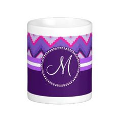 Monogram Purple Pink Tribal Chevron Zig Zags Mug