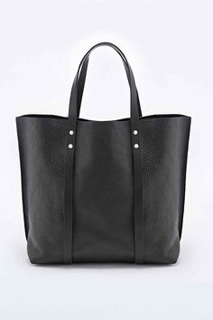 Structured Leather Tote Bag in Black