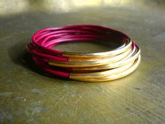 Sao Paulo Magenta Leather and Gold Bangles by handmadebyannepotter, $16.00