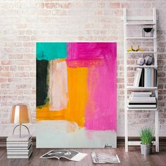 Original Modern Geometric Painting canvas with nice pinks, orange, turquoise, black & white. Both soft and bold ~ -Title A Pink & Orange Story