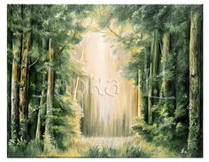 Summer in the forest - Original oil painting on canvas, nature painting, tree meadow, signed art, special gift, green