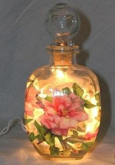 #4 Pink Roses Perfume Bottle Nightlight ( Night Light ) - Perfume Bottle Nightlights - Roses And Teacups - 1