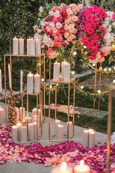 rose gold wedding décor flowers and candles at the wedding samuel lippke studios via instagram