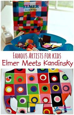 Our Art for Preschool series continues this week as we begin to explore abstract art and Kandinsky.  Make your own Elmer, inspired by a favorite children's book and Kandinsky's Squares with Concentric Circles