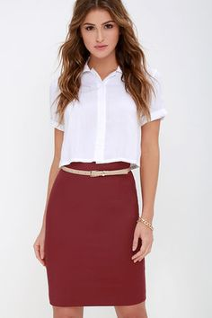 In case you haven't heard, we're here to inform you that our Get the Memo Wine Red Pencil Skirt needs to make its way into your wardrobe ASAP! Sleek cotton blend fabric has the perfect touch of stretch, shaping a chic high-waisted fit with darted detailing at top, and a modest length. Kick pleat at back. Hidden back zipper and clasp. Belt not included.
