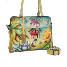 Loving this Floral Dreams Notebook & Tablet Organizer on Leather Handbags, Leather Wallet, Painted Bags, Hand Painted, Unique Handbags, Leather Design, Organizer, Luggage Bags, Purses And Bags