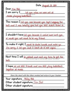 I love my think sheets, but I noticed that kids needed a little more when they get a little older. These templates are intended to help kids write a meaningful apology and help them to verbalize their actions and feelings. Included in this pack: 2 apology letters for