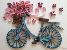 *QUILLING ~ quilled bicycle, flowers, quilling by Tihana Poljak