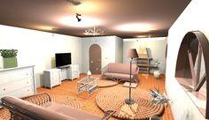 Valósághű 3 D látványterv. Mediterrán tipusu nappali