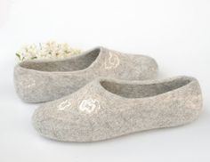 Felted slippers Pure Gray  Wedding gift organic by WoolenClogs, $85.00