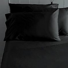 TEMPTATION Bed Sheet Set 100% Egyptian Cotton 800TC Solid Sateen King (Black).