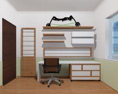 Estante para Livros e bancada de estudos, com gaveteiro/escada, design by Cassiana Franco Interiores em Itatiba