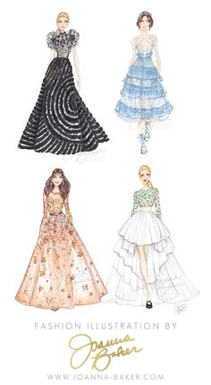Couture fashion illustrations by Joanna Baker