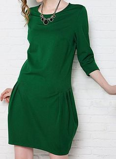 bef8417497ac OL Style Round Collar Zipper Solid Color 3 4 Sleeve Loose-Fitting Dress For