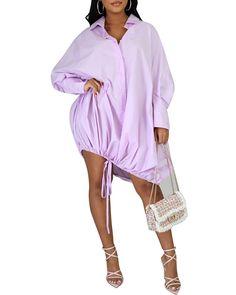 US$ 36.9 - Drawstring Slouchy Shirt Dress - m.wokeep.com Slouchy Shirt, Fall Outfits For Teen Girls, Dress Brands, Duster Coat, Shirt Dress, Cover Up, Dressing, Long Sleeve, Shirts